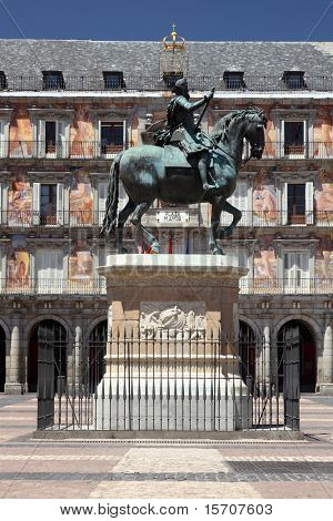 Madrid - Plaza Mayor. Landmark tourist attraction: Statue of Felipe III.