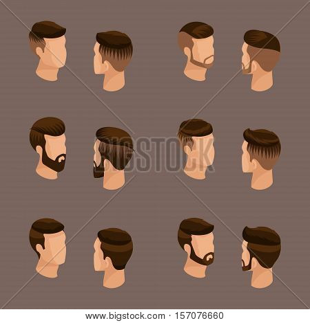 Isometric set of avatars men's hairstyles hipster style. Laying beard mustache. Modern stylish hairstyle young people fashion business on a beige background. Vector illustration.