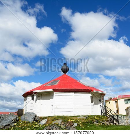Ushuaia Argentina - 27 october 2016: Reconstruction of the ancient lighthouse of Ushuaia with nobody in the spring (Argentina)