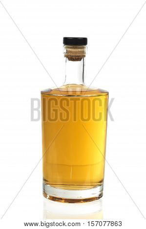 Close Up Of A Bottle Whiskey, Isolated Over White Background
