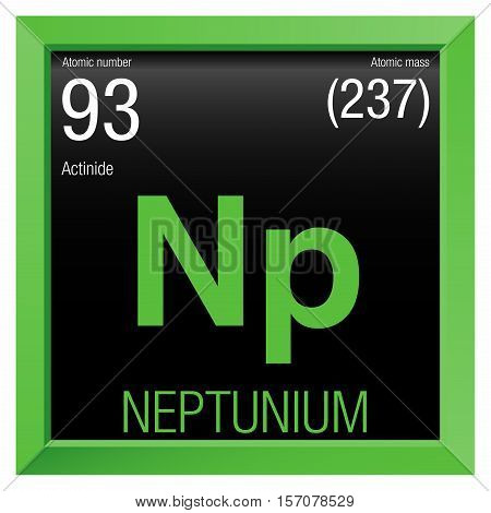 Neptunium symbol. Element number 93 of the Periodic Table of the Elements - Chemistry - Green frame with black background