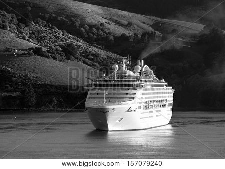 The cruise liner arriving to Port Chalmers in early morning (Dunedin).