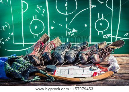 Formation Tactics In Ice Hockey Matches On Old Wooden Table