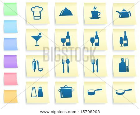 Restaurant Icons on Post It Note Paper Collection Original Illustration
