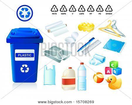 Resíduos de plástico apropriado para códigos de reciclagem e plásticos