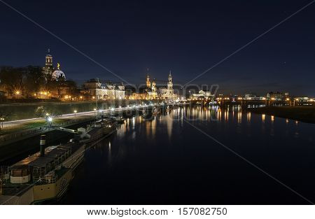 Night view of the Dresden old town architecture with Elbe river. Saxony Germany