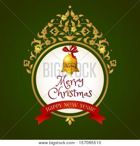 Merry Christmas Frame With Bell For New Year's Design.