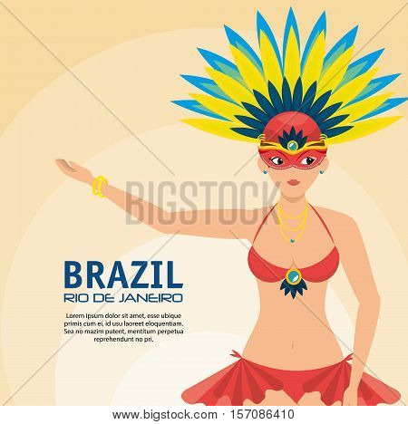 poster brazil rio de janeiro garota presenting vector illustration eps 10