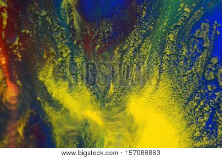 Red, green, blue, yellow fluid chaotic mix of colors macro. Abstract color creative art background basis closeup.Beautiful Perfect Wonderful Great extraordinary mixing transfusion of colors. Absorbs