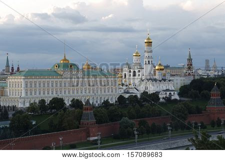 Kremlin, Ivan Great bell tower and Grand Kremlin Palace at evening in Moscow, Russia