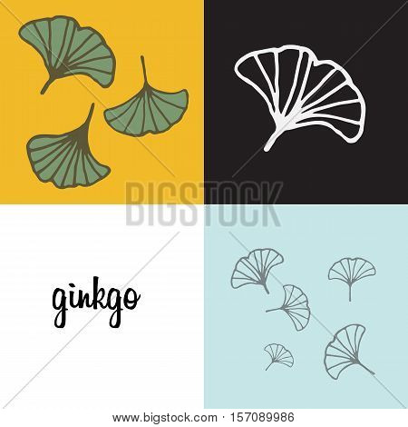 Three different design with leaves of ginkgo in squares