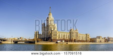 Panoramic view of Kotelnicheskaya Embankment Building - a Moscow architectural landmark