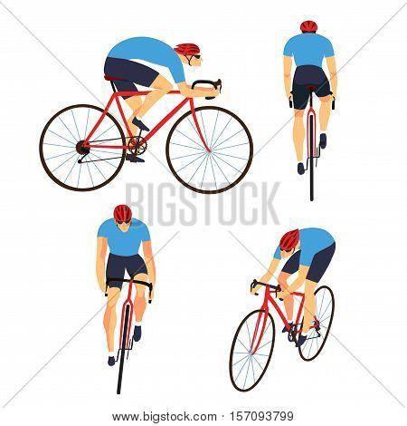 Racing cyclist in action set. Fast road biker from side front back and three quarter view. Editable vector illustration.