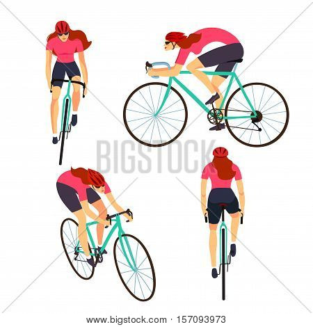 Racing cyclist woman in action set. Fast road lady biker from side front back and three quarter view. Editable vector illustration.