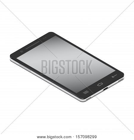 Realistic smartphone cellular in left side isometry on a white background. Vector illustration.