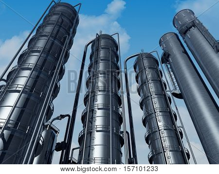 Tubes of factory in the sky.3d render