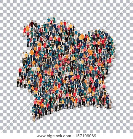 Isometric set of styles, people, map of Ivory Coast, country, web infographics concept of crowded space, flat 3d. Crowd point group forming a predetermined shape. Creative people.  illustration. Photo .3D illustration. Transparent background . Isolated.