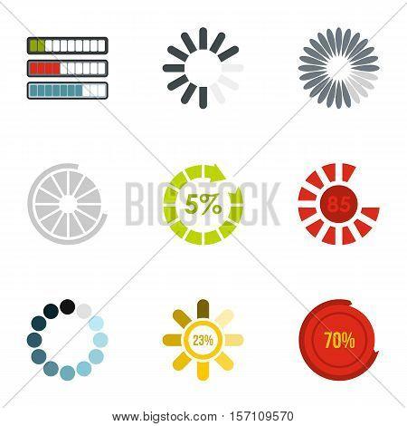 Loading and waiting icons set. Flat illustration of 9 loading and waiting vector icons for web