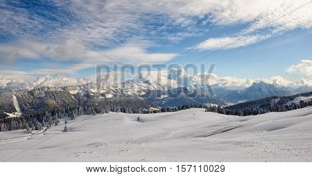 Mountain landscape with snow in the french Alps