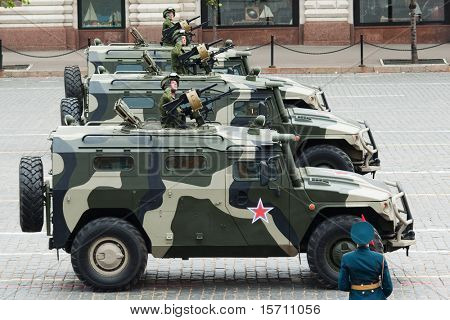 MOSCOW - MAY 6: Patrol cars in the Dress rehearsal of Military Parade on 65th anniversary of Victory in Great Patriotic War on May 6, 2010 on Red Square in Moscow, Russia