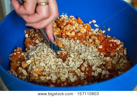 minced meat with oatmeal in blue bowl