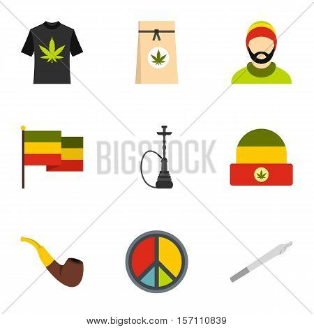 Cannabis icons set. Flat illustration of 9 cannabis vector icons for web