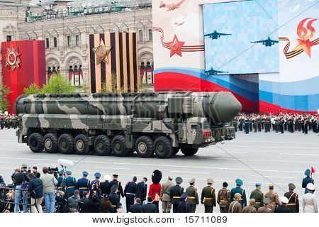 MOSCOW - MAY 6: Topol-M - intercontinental ballistic missiles in the Dress rehearsal of Military Parade on 65th anniversary of Victory in Great Patriotic War on May 6, 2010 on Red Square in Moscow