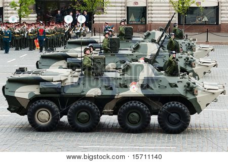 MOSCOW - MAY 6: BTR-80 in the Dress rehearsal of Military Parade on 65th anniversary of Victory in Great Patriotic War on May 6, 2010 on Red Square in Moscow, Russia
