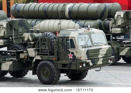 MOSCOW - MAY 6: S-400 Triumf in the Dress rehearsal of Military Parade on 65th anniversary of Victory in Great Patriotic War on May 6, 2010 on Red Square in Moscow, Russia