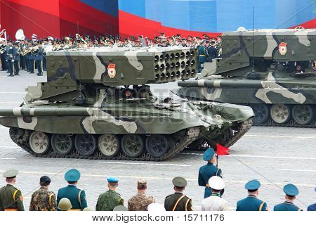 MOSCOW - MAY 6: TOS-1 - Heavy Flame Thrower System in the Dress rehearsal of Military Parade on 65th anniversary of Victory in Great Patriotic War on May 6, 2010 on Red Square in Moscow, Russia