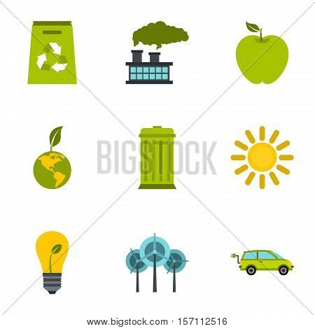 Conservation icons set. Flat illustration of 9 conservation vector icons for web