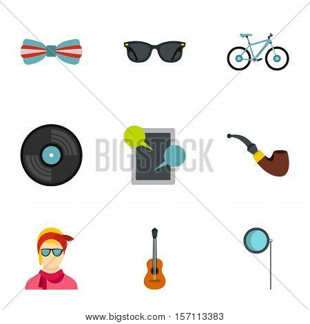 Subculture hipsters icons set. Flat illustration of 9 subculture hipsters vector icons for web