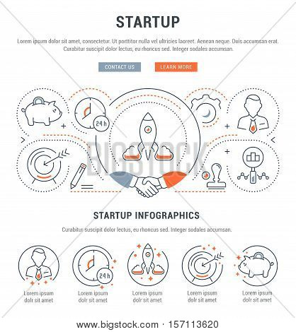 Flat line illustration of Business and Startup. Concept for web banners and printed materials. Template with buttons for website banner and landing page.