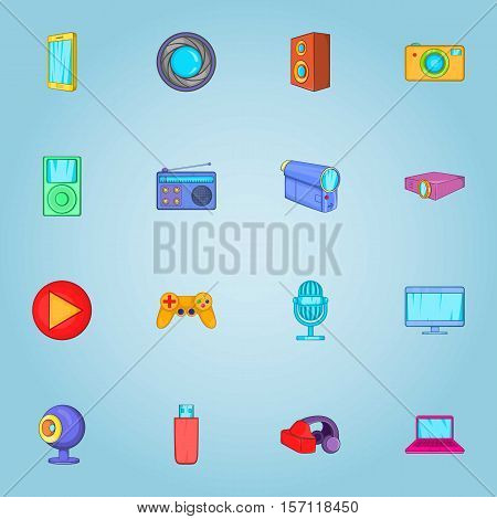 Electronic devices icons set. Cartoon illustration of 16 electronic devices vector icons for web