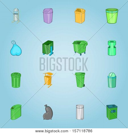 Trash cans icons set. Cartoon illustration of 16 trash cans vector icons for web