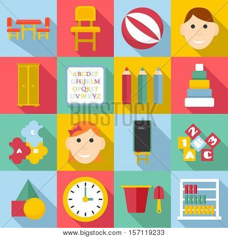 Kindergarten icons set. Flat illustration of 16 kindergarten vector icons for web