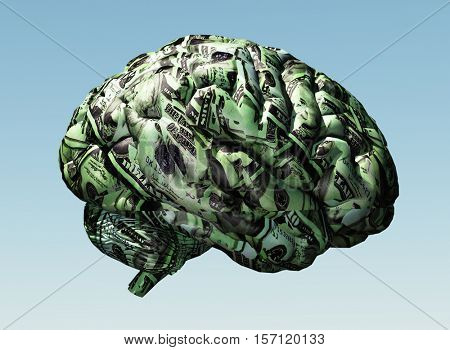 Brain composed of US Currency   3D Render