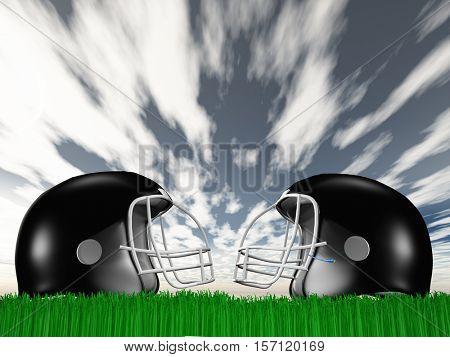 Football Helmet Composition   3D Render
