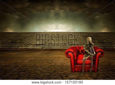 Alien sitting on red sofa   3D Render