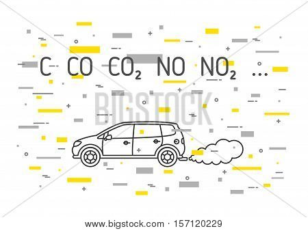 Car exhaust fumes vector illustration with decorative colorful elements. CO2 NO2 emissions line art concept. Carbon dioxide emits smoke pollution graphic design.