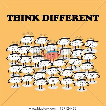 brains cartoon character vector illustration image showing how one thinks and acts differently from others (conceptual image about people are stressful and frustrated but one person is happy)