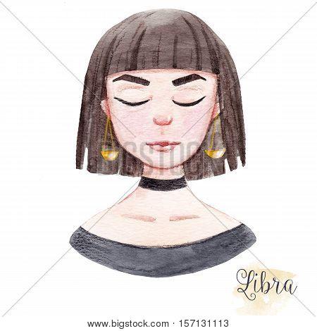 Beautiful watercolor hand drawn girl as a symbol of horoscope sign libra