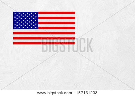 American flag on wall texture background in light sepia toned art paper or paper texture for background in light sepia tone.grey and white stars pattern old usa united soft vintage sheet tan.
