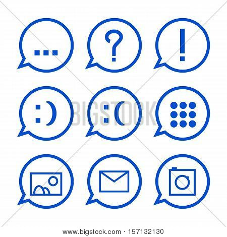 Blue communication icons vector illustration. Web messenger conversation icon set. Message icon with question mark, explanation mark, smile, email, picture, photo