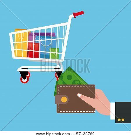 Cart bags and wallet icon. Shopping commerce market buy and payment theme. Colorful design. Vector illustration