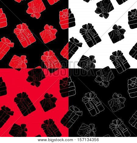 Hand drawn patterns sets with outline gifts with bows in cartoon style. Doodle thin line gift box texture with different bows. Gift wrap package. Doodle gift box wallpaper on white background.