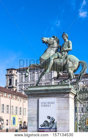Turin,Italy,Europe - March 3, 2016 : The bronze equestrian statue of Pollux at the entrance of Polo Reale