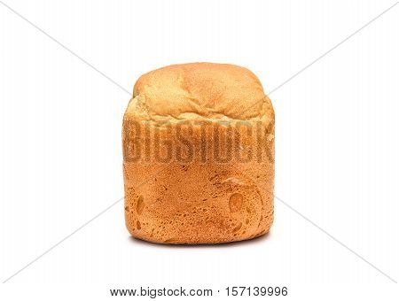 White wheat bread on white background. Isolated