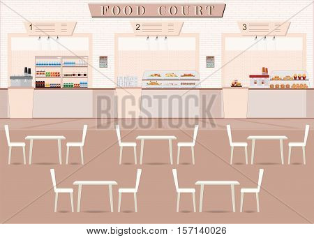 Food court in a shopping mall with food table and chair flat design vector illustration.
