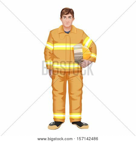 Smiling Fireman. Video Game's Digital CG Artwork, Concept Illustration, Realistic Cartoon Style Background and Character Design
